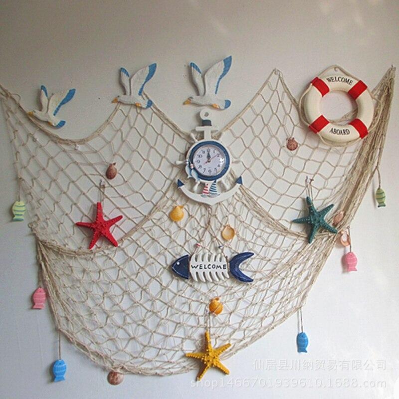 Casa El Mar Mediterráneo estilo CALIENTE Pegatinas de Pared grande red de pesca