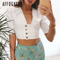 Affogatoo Sexy puff sleeve summer white top crop women Vintage cotton buttons female tank tops Casual ladies short tops camis