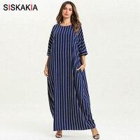 Siskakia Spring Summer 2019 Maxi Dresses for Women Plus Size 3/4 Sleeve Striped Straight long Dress Ankle Length Elegant Casual