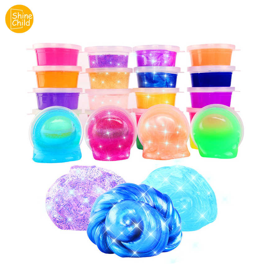 DIY Crystal Mud Clear Slime Container Hand Gum Putty 24 Colors Slime Supplies Light Clay Charms Decompression Toys Kid Gift Set