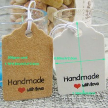 1.18*0.8inch 500pcs scallop white handmade with love custom paper tags cookie box wedding favor package clothing hang tags