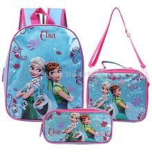 f0b7650feb Elsa Anna Princess Backpack School Bag With Lunch and Pencil Case Set 3 for  Kids Kindergarten