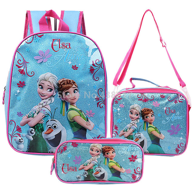 a3ae638239 Elsa Anna Princess Backpack School Bag With Lunch and Pencil Case Set 3 for  Kids Kindergarten Preschool School Toddler Bags