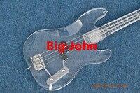 new 4 strings plexiglass electric bass guitar chrome hardware