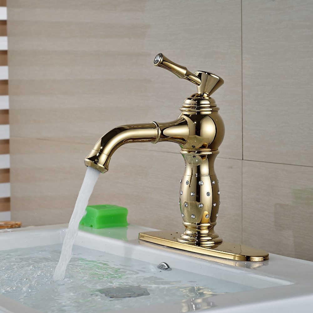 """Wholesale And Retail Golden Crystal Deck Mounted Bathroom Basin Faucet Single Handle Solid Brass Tap W/ 8"""" Hole Cover Plate"""