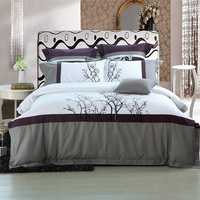 IvaRose Embroidered Tree Bedding Set Queen Size 4 6pcs Bedlinen Pure Egyptian Cotton Adult Quilt Cover