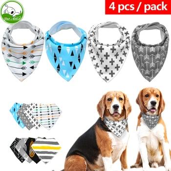 4pcs/lot Pet Dog Puppy Cat Bandana Collar Scarf Neckerchief Pet Accessories For Small Medium Large Dogs Chihuahua Cotton Pet Tie