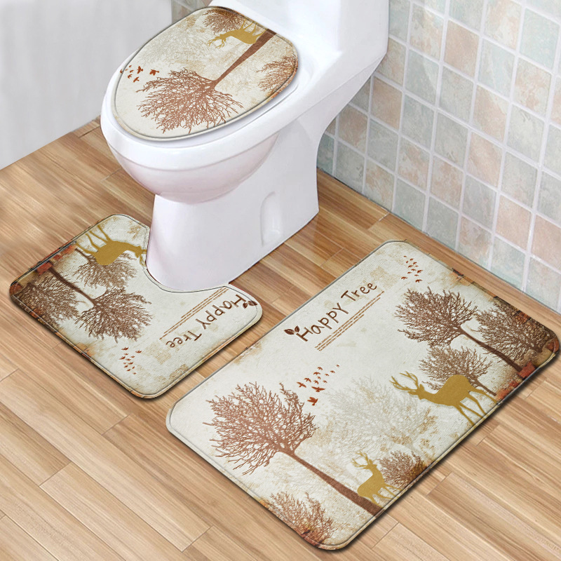 Tree <font><b>Deer</b></font> 3pcs Toilet <font><b>Mat</b></font> Set Forest Anti Slip Bath <font><b>Mat</b></font> 3D <font><b>Bathroom</b></font> Rugs and <font><b>Mat</b></font> Set Newest Water Absorption for Home Decor image