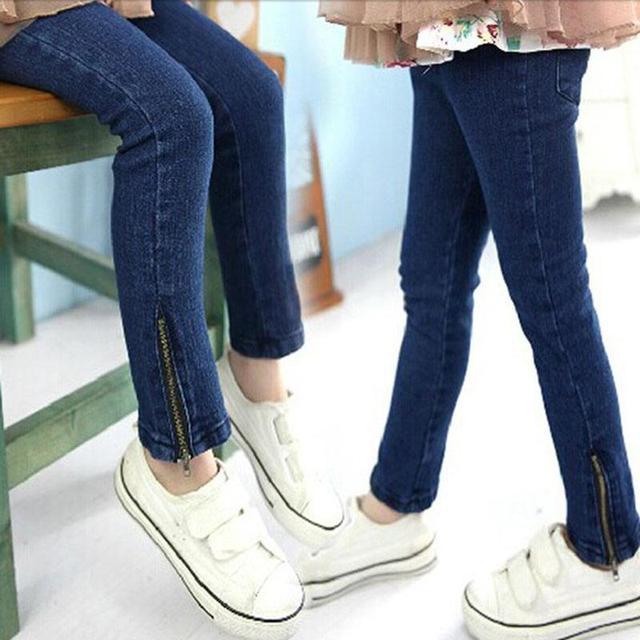 Розничные Дети девушка узкие джинсы дети брюки темно-синего цвета для 3-12 лет