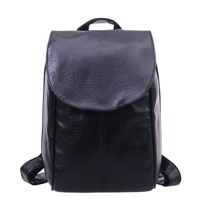 2017 New Women Leather Backpack for Teenage Girls Female School Shoulder Bags Solid Color Design Travel Rucksack mochila