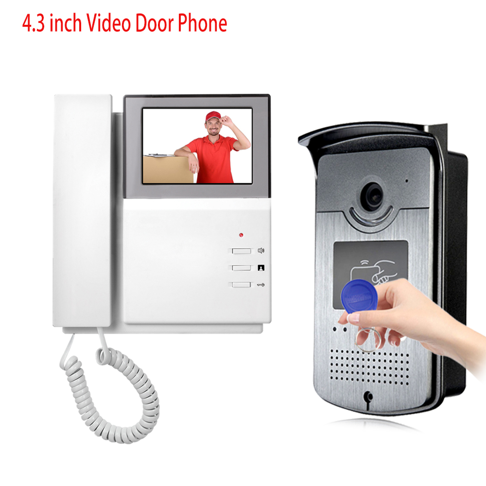 4.3'' HD RFID Color Video Intercom System Video Door Phone With IR COMS Outdoor Camera Doorbell 125KHz ID Card For Home/Office 4 3 hd rfid color video intercom system video door phone with ir coms outdoor camera doorbell 125khz id card for home office