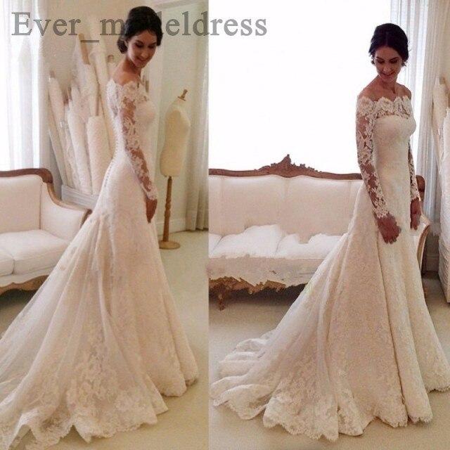 Arabic Vintage Lace Wedding Dresses White Mermaid 2020 Appliques Boat Neck Long Sleeve Sweep Train Plus Size Vestido De Noiva