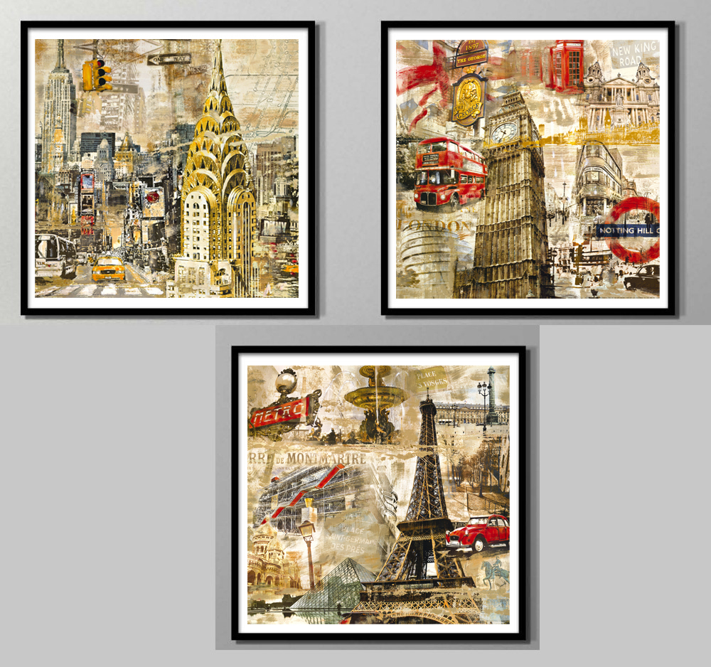 scenery paintings vintage poster modern decorative art canvas painting London red bus Eiffel tower Manhattan mural prints