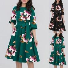 Dress 2019Top  A-Line Women Elegant O-Neck Half Sleeve Pocket Sashes Knee-Length Casual