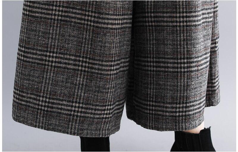 Plus Size Women Wide Leg Pants Autumn Harem Pants Plaid Casual Vintage Korean 2018 Oversize New Elastic Waist Woolen Pants 14