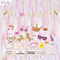 FENGRISE Unicorn Party Decorations Photo Booth Props Colorful Curtain Tinsel Garland Unicorn Banner Birthday Party Decorations