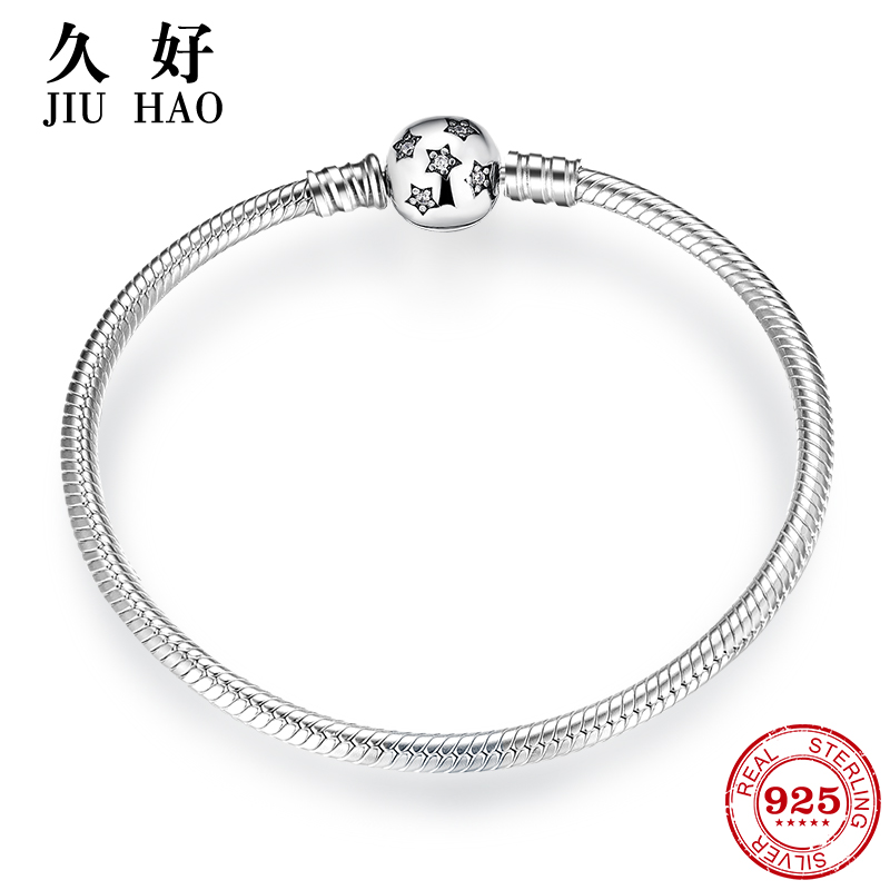 Authentic 100% 925 Sterling Silver twinkle Stars Snake Chain  Cubic Zirconia CZ Classic Womens bracelets Bangle DIY JewelryChain