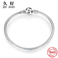 Authentic 100% 925 Sterling Silver twinkle Stars Snake Chain Cubic Zirconia CZ Classic Womens bracelets Bangle DIY Jewelry