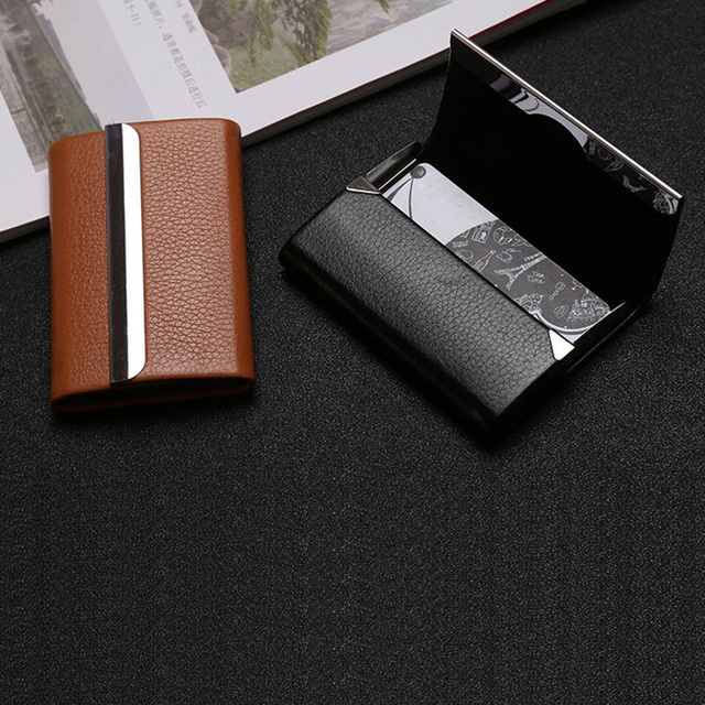 Bisi Goro 2021 New Wallet Men Bussiness Card Name Holder Pu  Leather ID Card Case Bank Card Holder Wallet Package 7 Colors 4