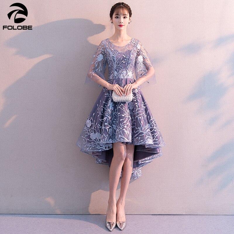 FOLOBE 2020 printemps élégant robe de soirée salut Lo bleu clair robes formelles demi manches broderie Banquet femmes robes vêtements - 3