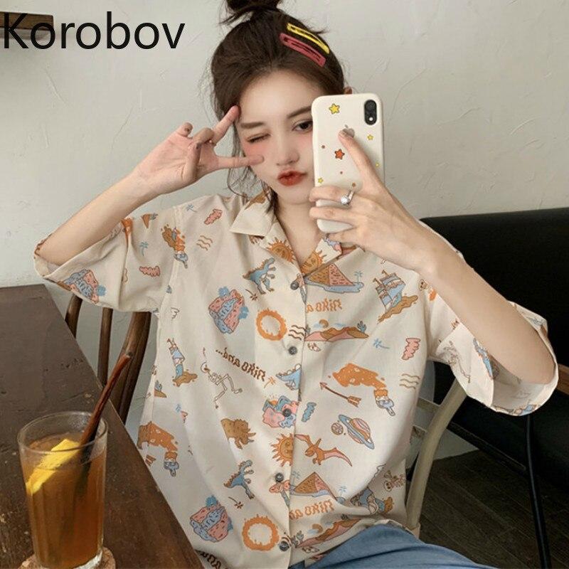 Блузка женская Korobov, с коротким рукавом, с мультяшным принтом, в Корейском стиле, 78072