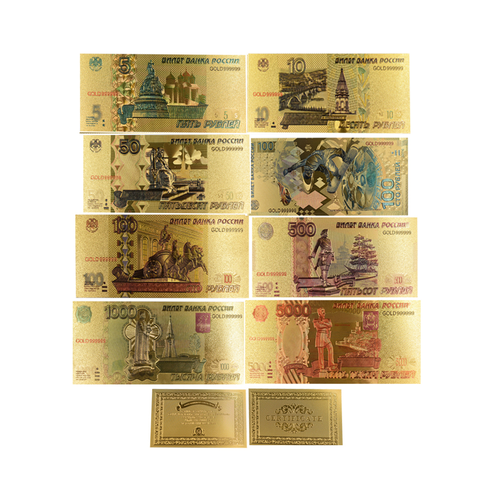 8pcs Russian 24k Gold Banknote Set Collectible Colorful Souvenir Gifts Paper Money Price Worth Collection