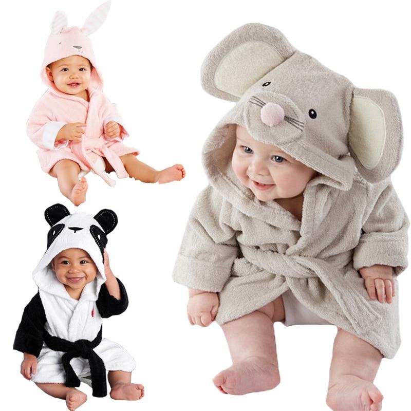 Cute Hooded Baby Infant Girl Boy Cotton Bath Towel Wrap Bathrobe Cute Cartoon Mouse/Panda/Bunny Design Bath Robes 1-5Y