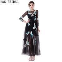 H & S כלה שחור שרוול ארוך שמלות נשף צוואר תכשיט סקסי שמלה לנשף טול עם רקום Sheer טול ארוך ערב שמלות