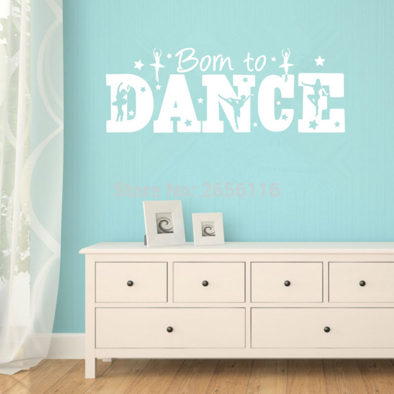 Personalized Motivational Quotes Wall Decals Born to Dance Ballerina Stars Vinyl Mural Stickers for Girls Room