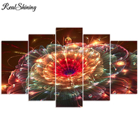 REALSHINING Full Square Needlework 5D DIY Diamond Painting Fireworks Flowers Diamond Embroidery Cross Stitch Mosaic Decor FS329