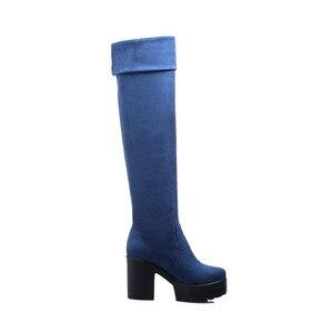 Image 5 - MORAZORA שלושה צבעים נשים מגפי אביב סתיו פלטפורמת מגפי אופנה על מגפי הברך עקבים גבוהים גדול גודל 34 43