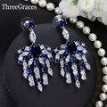 Borla novo Design Branco Banhado A Ouro Criado Safira Azul Royal Longo Eardrop Cristal Cubic Zircon Brincos Para As Mulheres Do Partido ER323