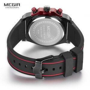 Image 5 - Megir montre bracelet, chronographe pour hommes, lumineuse, étanche, avec bracelet en caoutchouc, pour garçons et garçons 2051G 1N8