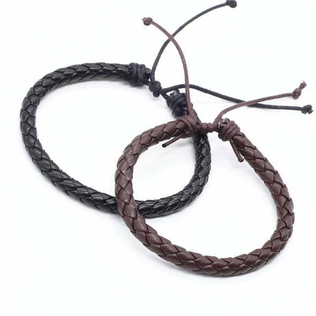 Bán buôn 100 cái/lốc Thời Trang Mới Quấn Handmde Dây Thừng Bện Dệt Nữ Femme Homme Nam PU Đàn Ông Da Bracelet Đối Với Phụ Nữ đồ trang sức