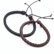 Venta al por mayor, 100 unidades/lote, nueva pulsera de moda para hombre y mujer, tejido trenzado de cuerda de mano, pulsera de cuero PU para hombre y mujer, joyería