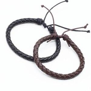 Image 1 - Wholesale 100pcs/lot New Fashion Wrap Handmde Rope Braid Weave Female Femme Homme Male PU Leather Men Bracelet For Women Jewelry