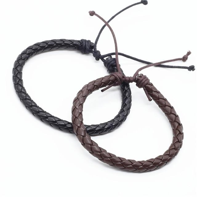 Wholesale 100pcs/lot New Fashion Wrap Handmde Rope Braid Weave Female Femme Homme Male PU Leather Men Bracelet For Women Jewelry