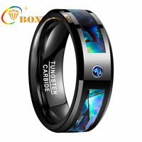 New Hign Quality Electroplated Black Inlaid Zircon Abalone Shell Tungsten Steel Ring Gift For Man boyfriend
