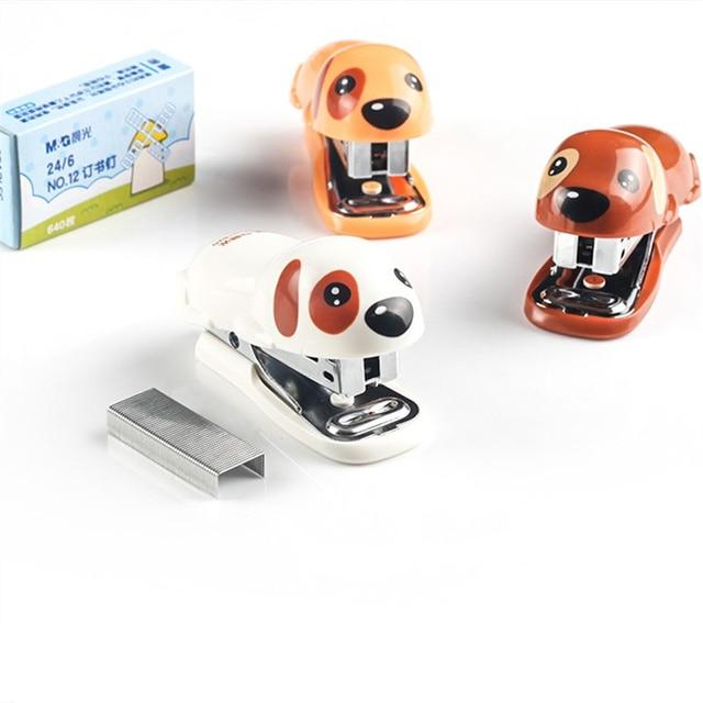 Cute Kawaii Cartoon Dog Shape Stapler Set Paper Binding Binder School Office Supplies Stationery Engrapadora Papeterie