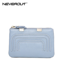 NeverOut Genuine Leather Coin Purse Zipper Muti Colors Women Purses Coin Wallet Style Lady Mini Clutch