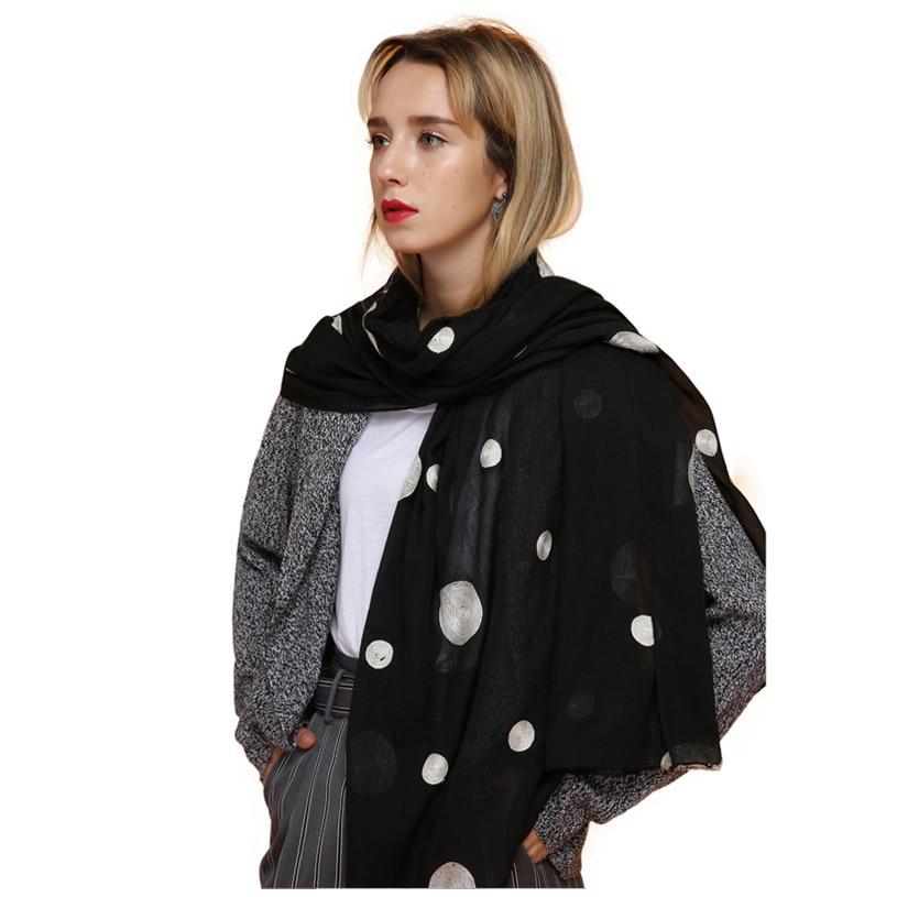 FS Ladies Embroidere Cotton Long Scarf Polka Dot Shawl Women's Scarf