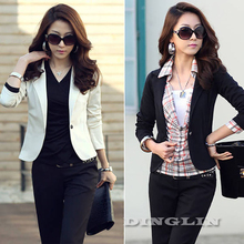New Fashion Female Autumn Long Sleeve Slim Fit Casual Peplum Career Office Jacket Women Suit Tops Outerwear Black White CL0602