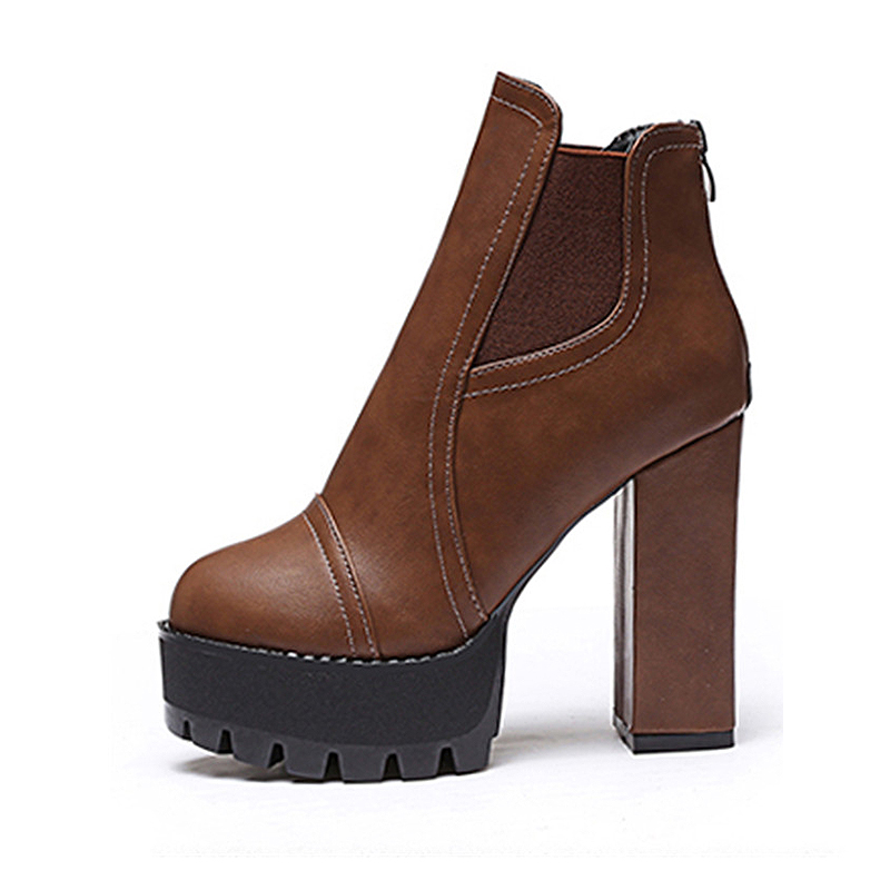 Women new autumn and winter ankle boots Short thick with High heels platform leather shoes ladies boots12cm heel