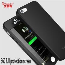 IPaky бренд для iPhone 5 5S SE 6 6 S плюс мобильный телефон чехол 360 градусов Полная защита жесткого ПК Силиконовые Shell обложка + Tempered Glas