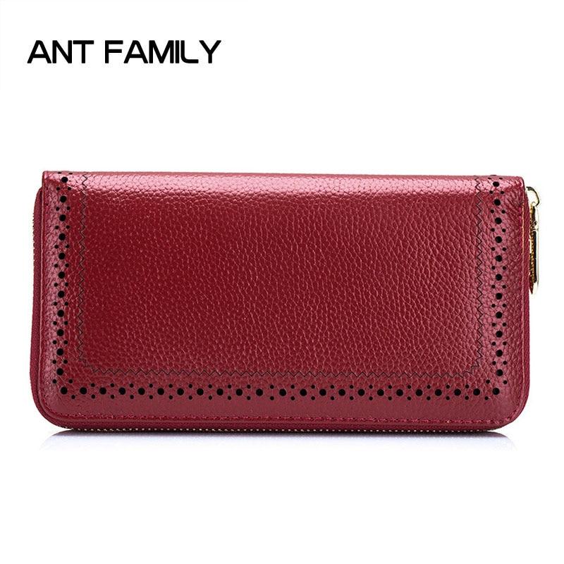 Genuine Leather Women Wallets Fashion Female Long Zipper Wallet Card Holder Wallet Ladies Coin Purse portefeuille Portfel Damski