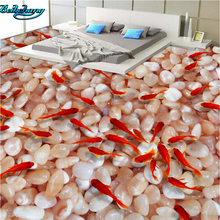 beibehang High Speed Stream Pebble Goldfish Toilet Bathroom Bedroom 3D Wallpaper Wallpaper Decoration
