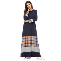 Women Plaid Patchwork Long Dress Elegant Long Sleeve Round Neck Dress Urban Casual T Shirt Dress Middle East Arab Islamic Musl