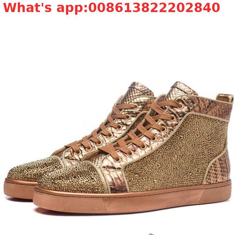 Chaussures de loisirs en cuir véritable cristal doré chaussures de sport de plein air chaussures de luxe pour hommes chaussures de sport à lacets