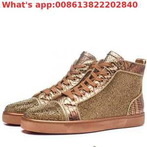 Shoes Sneakers High-Top Designer Sports Golden Crystal Outdoor Lace-Up for Men Leisure