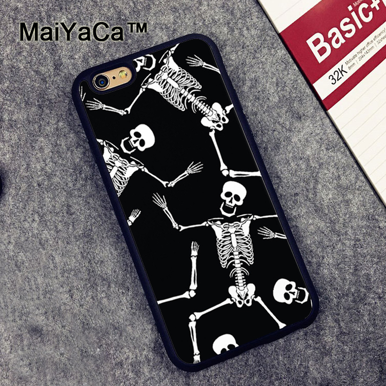MaiYaCa SKELETON PATTERN HALLOWEEN Soft TPU Cases for iPhone 6 6s Case Back Cover for Appl